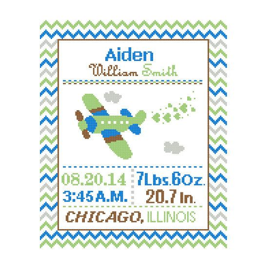 1 Cross Stitch custom Pattern Baby Boy by ZindagiDesigns on Etsy, $10.00