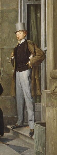 The Circle of the Rue Royale (detail) - Charles Haas, 1868 by James Tissot (French 1836–1902)....the smart fellow was the principle inspiration for Marcel Proust's Swann....