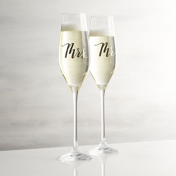 Wedding-worthy flutes with a traditional tulip shape are inscribed for the bride or groom to toast the occasion. Coordinating Mr. and Mrs. plates also available.