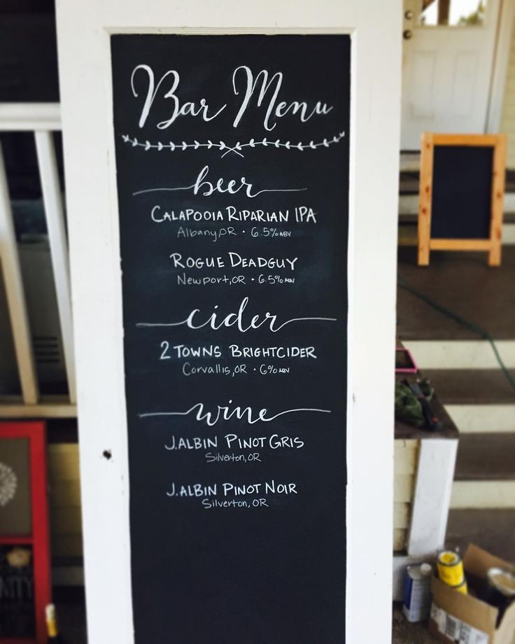 Wedding Bar Menu Chalkboard Door