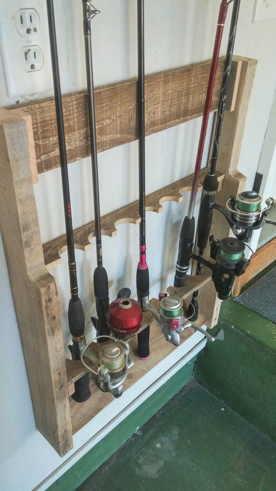 543 best images about wood pallet crafts on pinterest for Fishing rod rack