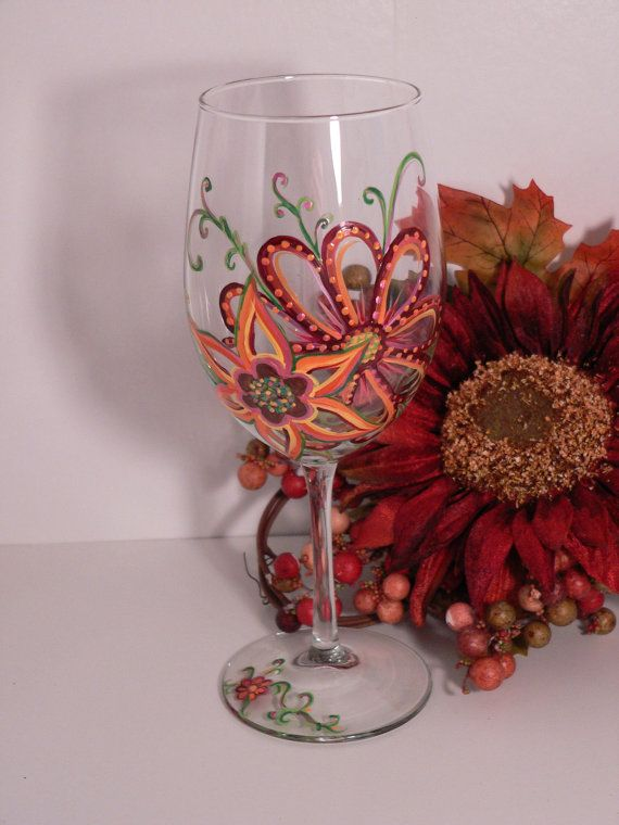 Meadow Flower Wine Glass by WhimsicalLiving on Etsy, $15.00