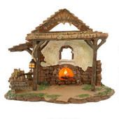 """5"""" Lighted Village Stable #1112225 Part of the Fontannini Nativity Collection. Sold @ Bronners. Would like to collect any/all of the LIfe of Christ/Biblical story pieces to display year round."""