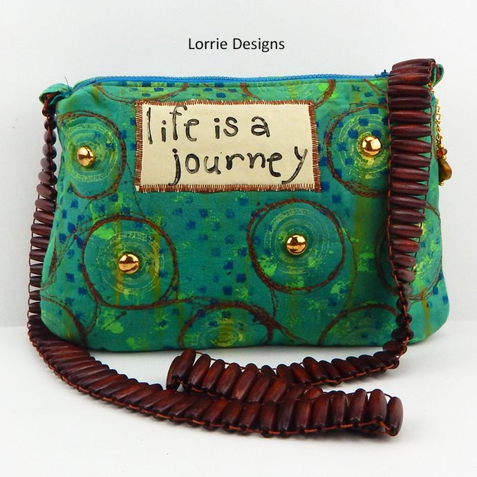 Small Purse, Green Shoulder Bag, Art Bag, Upcycle Shoulder Bag, Life is a Journey, Painted Bag, Lorrie Designs by LorrieDesigns, $32.00 USD
