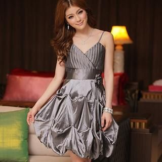 JK2 Gray Balloon-Hem Corsage-Accent Cocktail Dress women $49.90 | Looking For Fashions