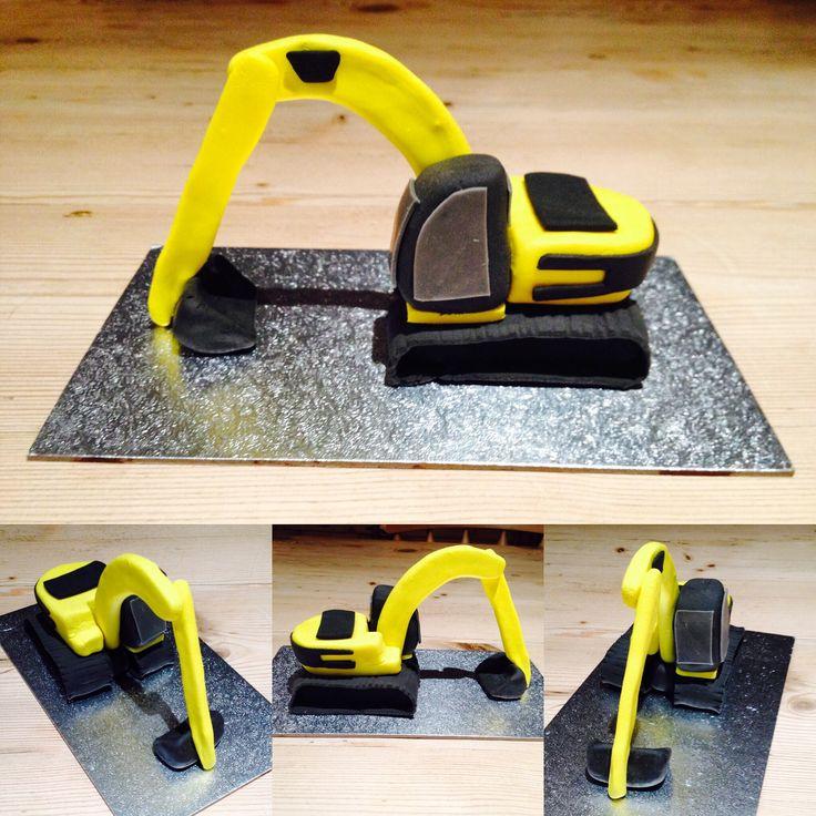 JCB Digger fondant cake topper...