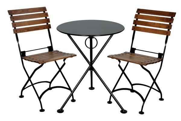 French Bistro Cafe Folding Side Chairs and Round Steel Outdoor Table