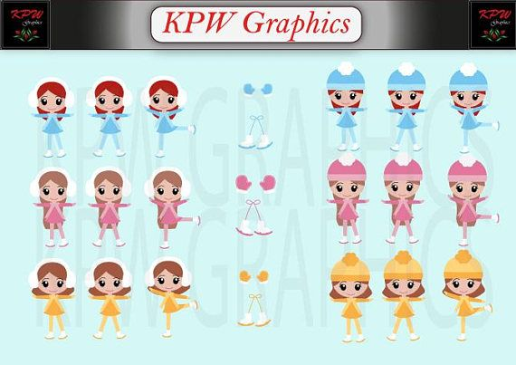 Winter Ice Figure Skaters Girls Set 2 Clipart Set in a PNG