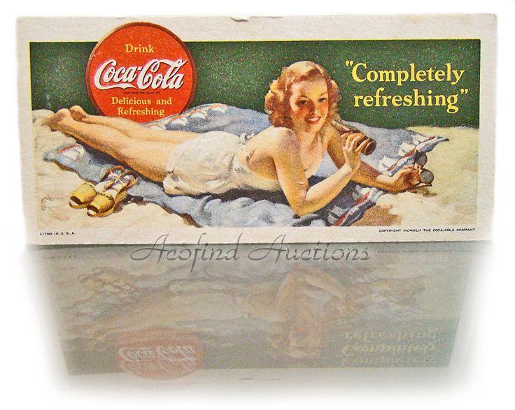 """Vintage 1942 """"COKE"""" Coca ~ Cola Girl in Bathing Suit Fountain Pen Ink Blotter #Coke"""