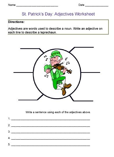Saint Patrick 39 S Day Adjective Worksheet Sl Holiday