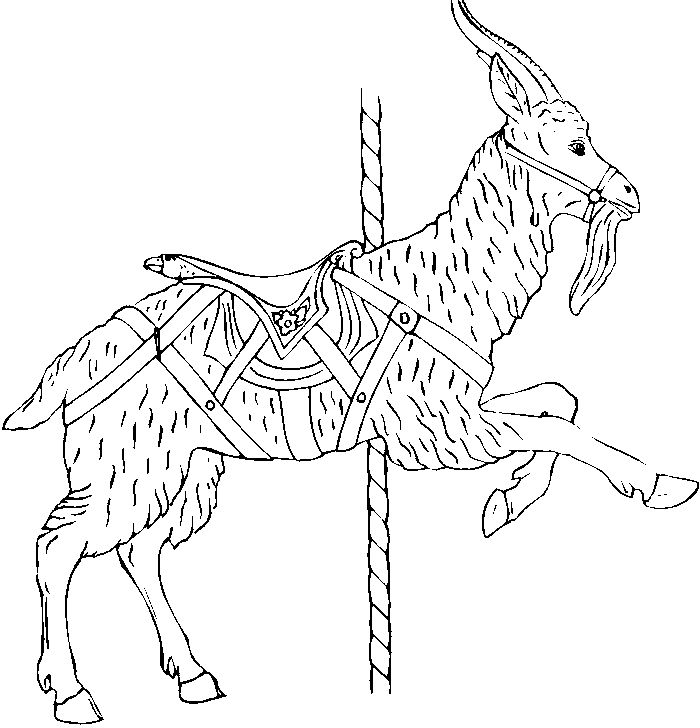 Goat Carousel Animals Coloring Pages