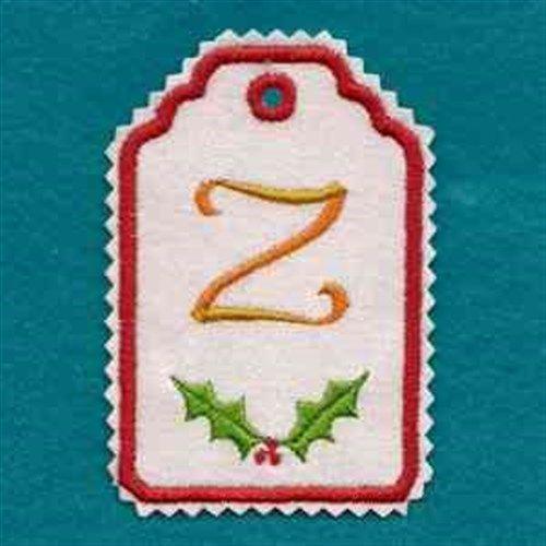 Christmas Tag Alphabet Z Embroidery Design | AnnTheGran