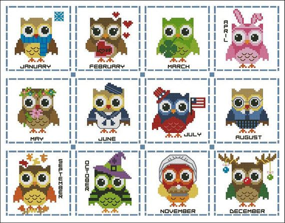 Hooties Year Round Minis Collection Cross Stitch by PinoyStitch, $7.50