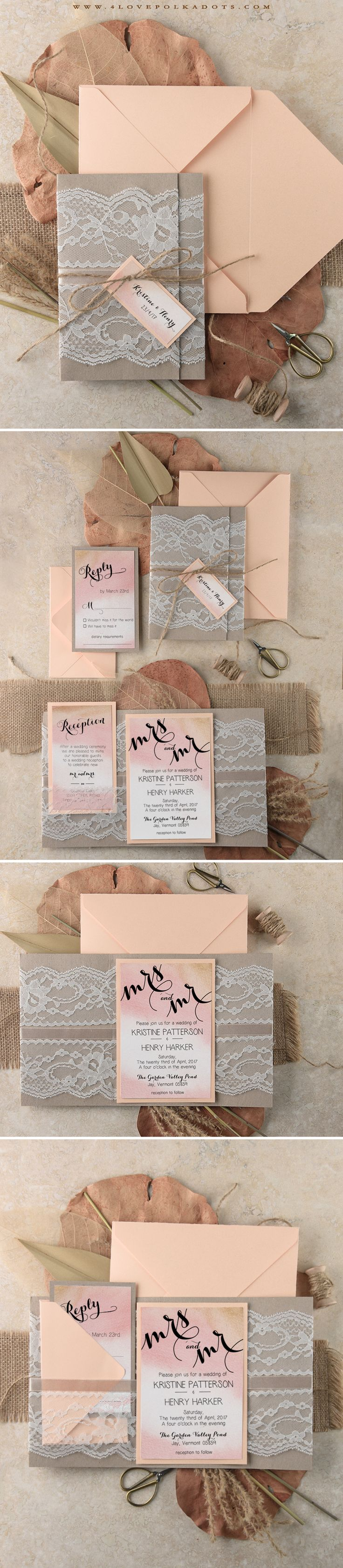 Ombre Wedding Invitations With Real Lace Omre Weddingideas Fall Autumn Harvestwedding