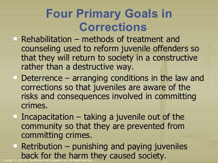 juvenile justice and corrections An office of justice programs resource, the national criminal justice reference service (ncjrs) offers information and resources on juvenile justice and other topics to support research, policy, and program development worldwide.