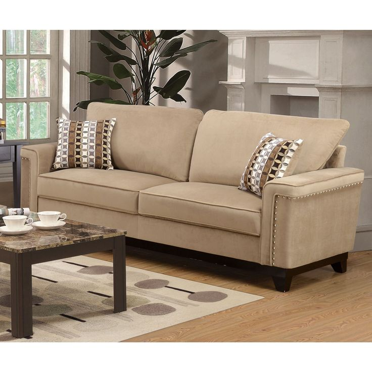 Lyke Home Opal Taupe (Brown) Sofa (Opal Taupe Sofa) (Velvet)