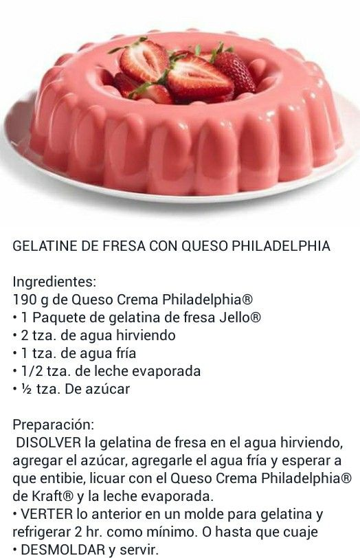 Gelatina de fresa con queso philadelphia