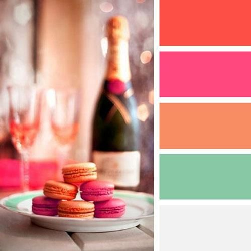 modern interior colors-festive and bright orange color scheme with pink, red and pastel blue-green