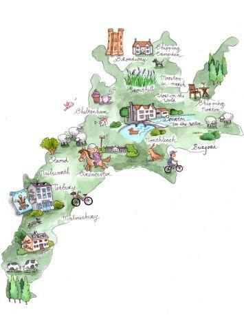 The Cotswolds Map by www.CotswoldsConcierge.co.uk   Have a read here for information on how to sell this in postcard form: http://www.flipgorilla.com/p/23023990364704960/show   COPYRIGHT: Cotswolds Concierge  #Cotswold #Cotswolds