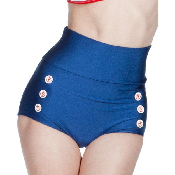 Fables by Barrie Navy Skipper Bikini Bottoms ($17) ❤ liked on Polyvore featuring swimwear, bikinis, bikini bottoms, navy blue bikinis, navy swimwear, nylon swimwear, nautical bikini and navy bikini