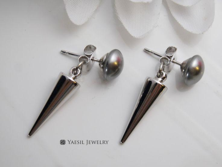 Spike Drop Earrings, Swarovski Pearl Grey Cabochon Earrings, Spike Dangle Earrings, Sterling Silver Post by YaesilJewelry on Etsy