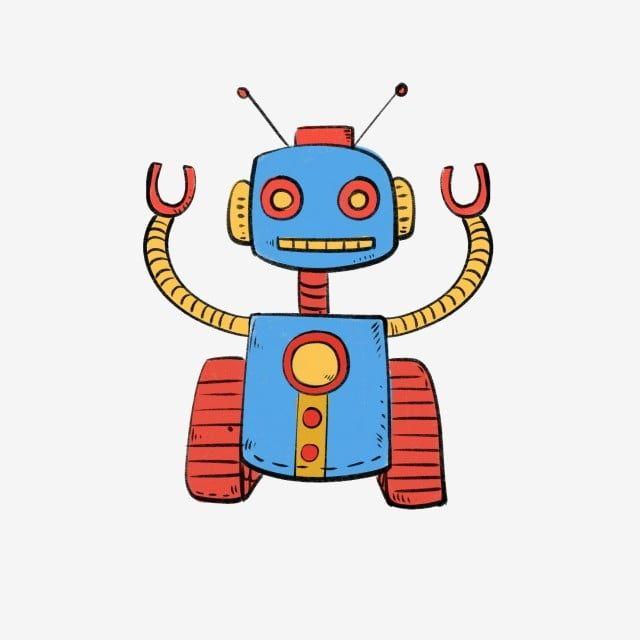 أسلوب بسيط الرياح الكرتون هدية رسوم متحركة ستة واحد هدية للأطفال الطفل إنسان آلي كارتون روبوت الكرتون لعبة الروبوت لطيف اليد لعبة الري Robot Toy Cartoon Smurfs