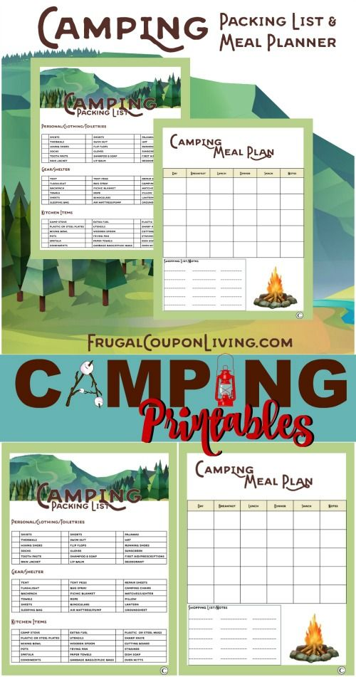 FREE Camping Printable and Camping Hacks, Tips and Tricks on Frugal Coupon Living.