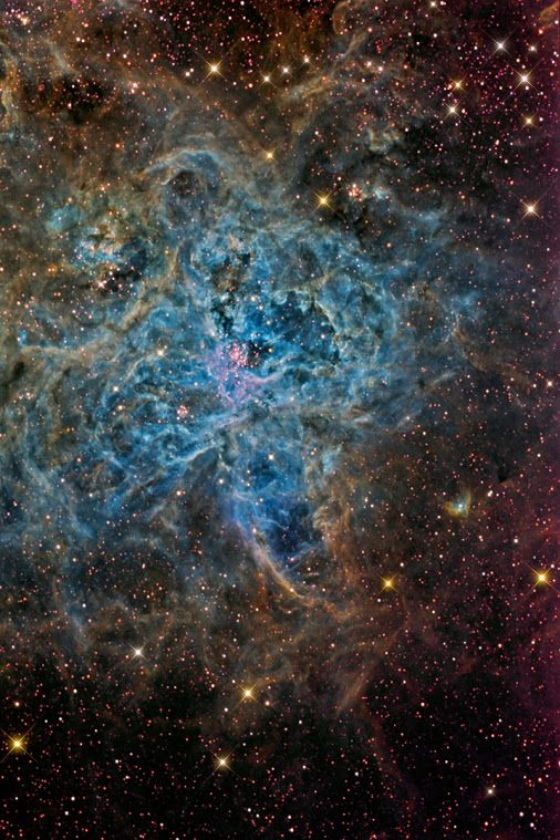 The #TarantulaNebula, also known as #30Doradus or #NGC2070, is an H II region located in the Large Magellanic Cloud. Initially considered a star in 1751 Nicolas Louis de Lacaille recognized its nebular nature. With an apparent magnitude of 8, the Tarantula Nebula is an extremely bright object, considering that is about 170,000 light years away. Its luminosity is such that if you were at the same distance from Earth than the Orion Nebula, come to cast shadows.