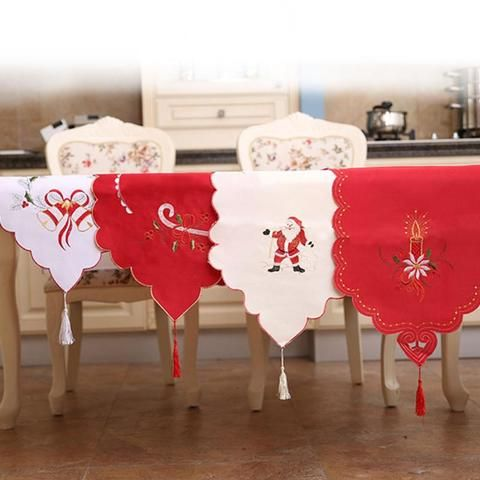 Christmas Table Runner Embroidered Floral Lace Dust Proof Covers for Christmas Table Xmas Ornament for Home #christmas #homedecoration #decoration
