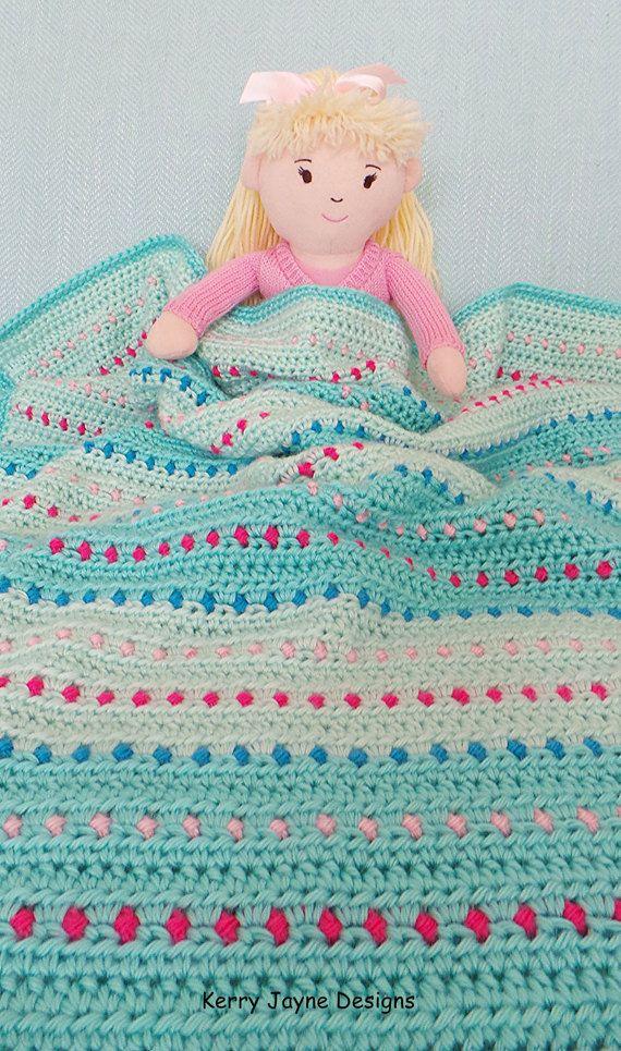 Dinky Dot Crochet Blanket Pattern Baby by KerryJayneDesigns