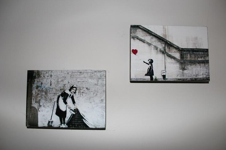 Love my Banksy prints - I mounted them on wooden blocks