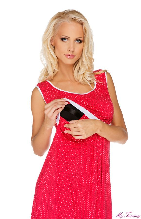 Koszulka nocna do karmienia i na ciąże Suzie czerwona w białe groszki