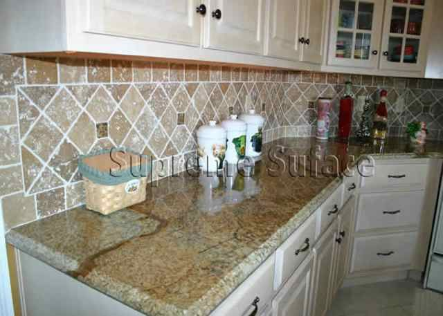 Persian Brown Granite Countertop With Noce Travertine Tumbled Stone  Backsplash
