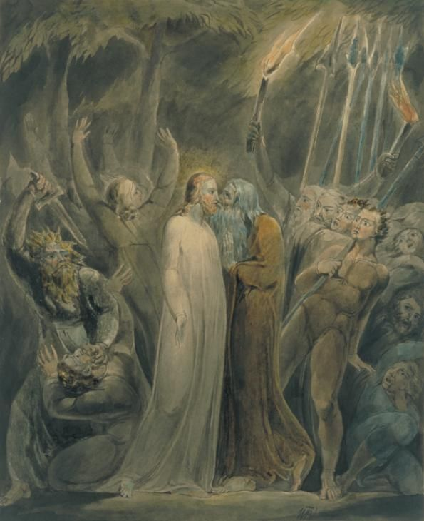 Artwork page for 'Judas Betrays Him', William Blake, c.1803-5 This watercolour illustrates verses from St Matthew's Gospel. Christ prays for spiritual strength and guidance in the Garden of Gethsemane, knowing that he will soon be betrayed by one of his own disciples. Judas arrives with 'a great multitude with swords and staves' to arrest him. He kisses Christ as a signal that he is the one to be seized. The rest of the disciples look on in horror. This is one of more than eighty…
