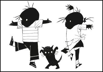Kaart Jip en Jannieke dansen Ansichtkaart Jip en Janneke dansen. Illustratie Fiep Westendorp. Kinderkaart monochrome zwart-wit