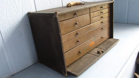 Antique ex-large Machinist tool box chest 8 Drawer by DUNLAP