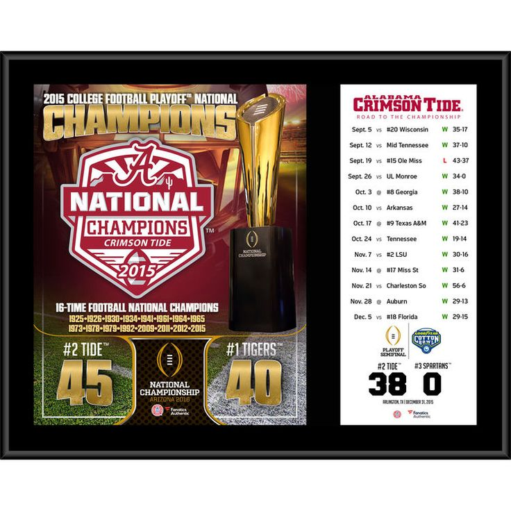"Alabama Crimson Tide Fanatics Authentic College Football Playoff 2015 National Champions 12"" x 15"" Sublimated Plaque"