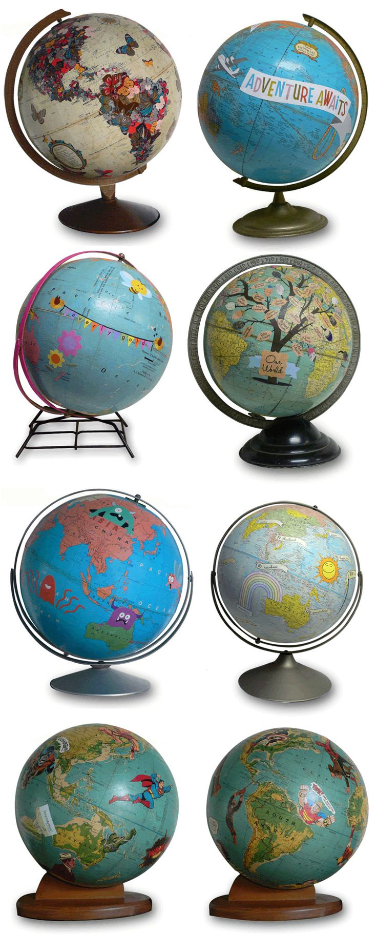 """FABULOUS """"repurposed"""" globes by Wendy Gold."""