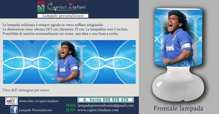 Lampada da tavolo in vetro soffiato a bocca, personalizzata con l'immagine di Diego Armando Maradona. Altezza 24,5 cm- diametro base 15 cm- diametro paralume 14 cm - lunghezza filo elettrico 2 mt. La lampadina non è inclusa (max 40W).