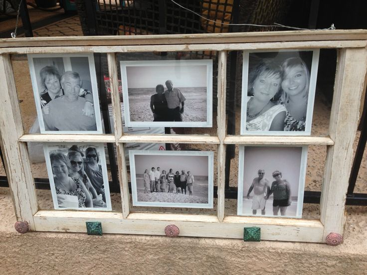 DIY window pane picture frame. Can't wait to give this to my mom for her birthday.