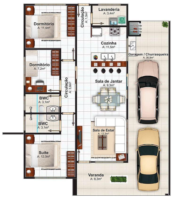 37 melhores imagens de planta baixa casas t rreas no for Casa moderna 90m2