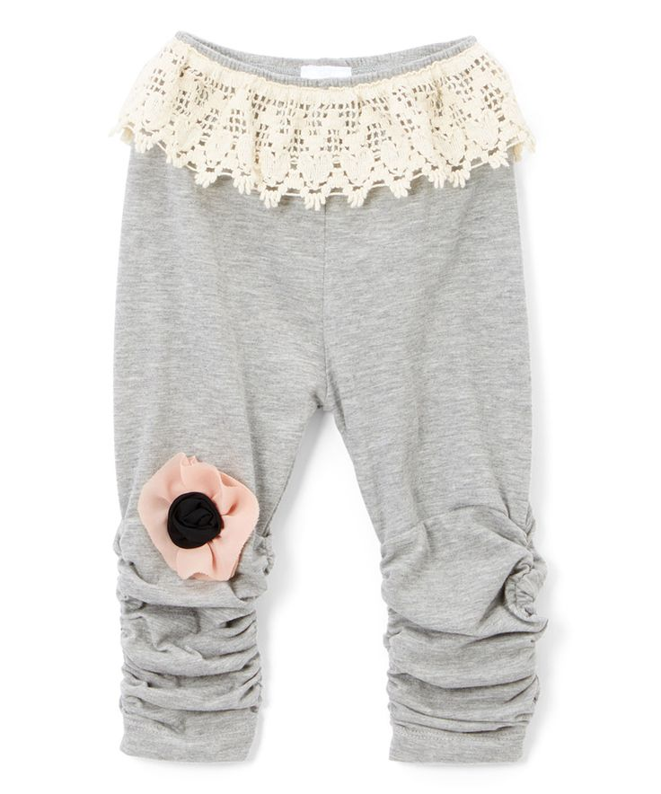 Loving this Victoria Kids Silver & Ecru Lace-Accent Ruched Leggings - Infant, Toddler & Girls on #zulily! #zulilyfinds