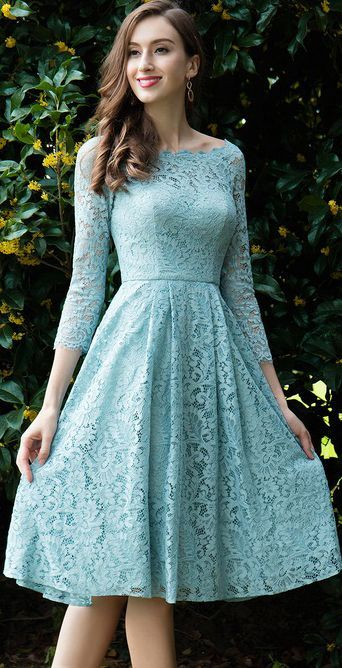 74fbb6a0b6c Light Green Lace Cocktail Party Dress (26170204) in 2019