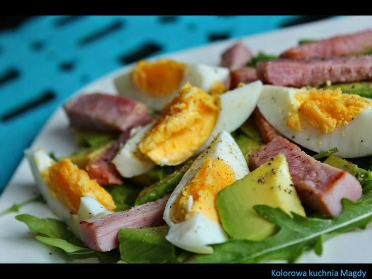 Avocado, ham, eggs
