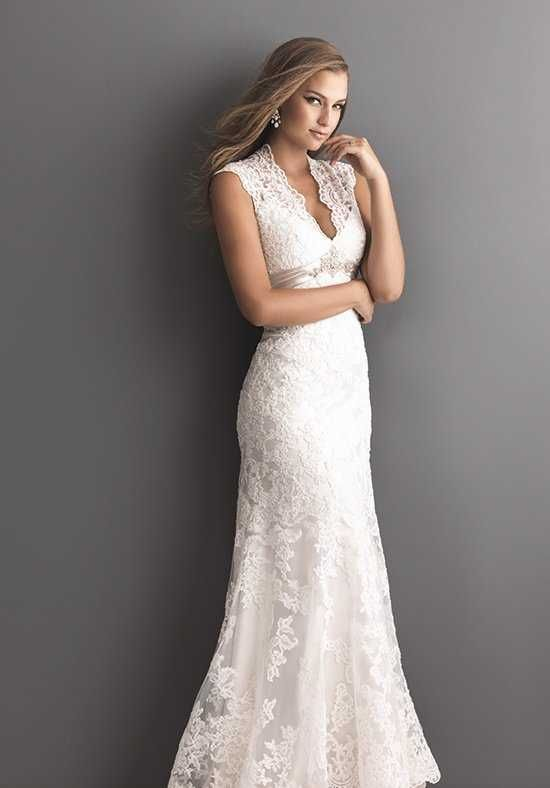 Gorgeous sheath dress features rich lace appliqués on soft net and v-neckline | Allure Romance | 2619 | http://knot.ly/64958HrlV