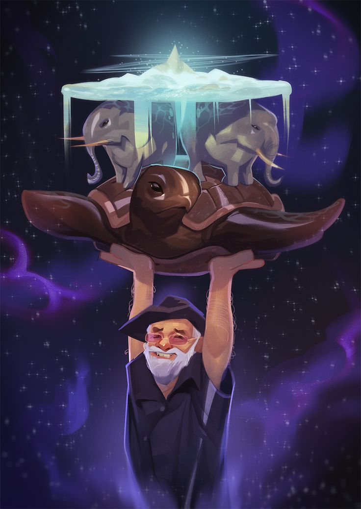Powersimon's tribute to the late, great Sir Terry Pratchett, and his Discworld.  From http://powersimon.tumblr.com/