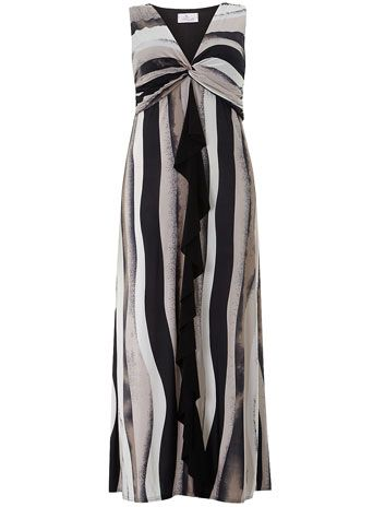 Black/sand print maxi dress