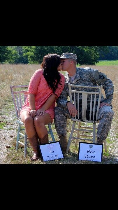 Army girlfriend. Military photography.. love this except without the chairs and holding the signs
