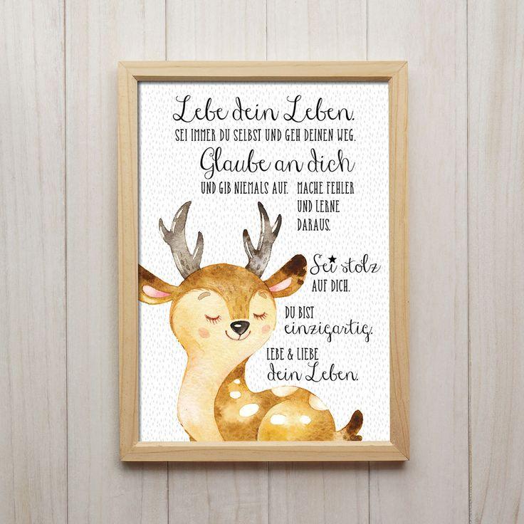 Bild Lebe Dein Leben Kunstdruck DIN A4 Hirsch Spruch Tiere Kinderzimmer Deko – Keldrik