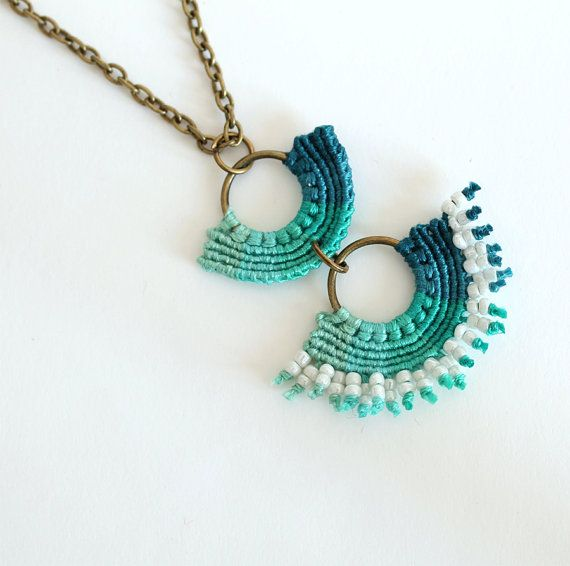 Boho Chic Macrame Aqua Green Turquoise Necklace by KnottedWorld